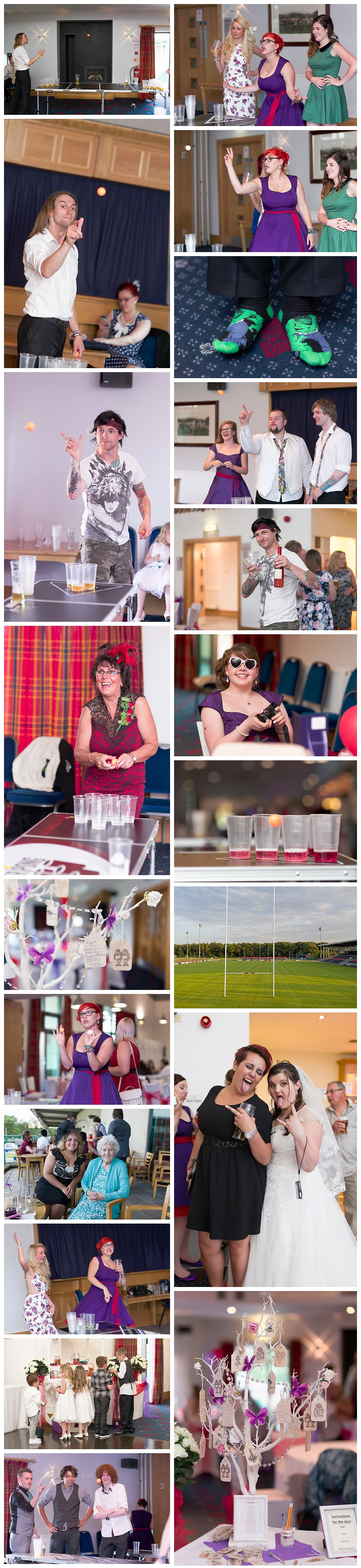 event photographers Doncaster castle park, yorkshire photographers, beer pong at a wedding