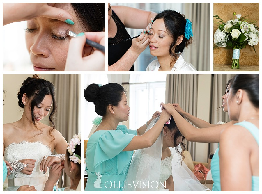 bride getting ready at Leeds Marriott Hotel