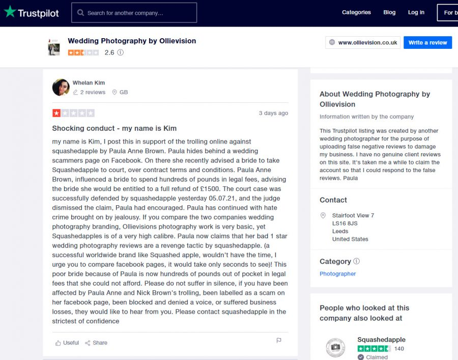 whelan kim is carlo saleminetti, photographydeals.co.uk scam